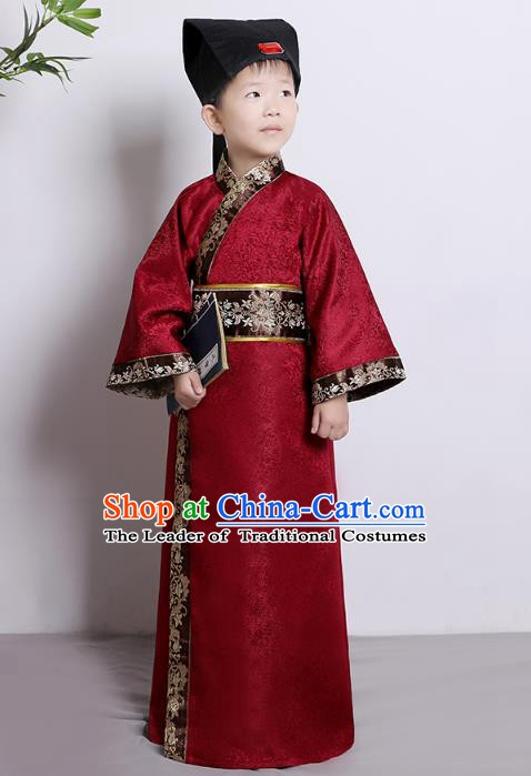 Traditional China Han Dynasty Minister Red Costume, Chinese Ancient Chancellor Hanfu Clothing for Kids