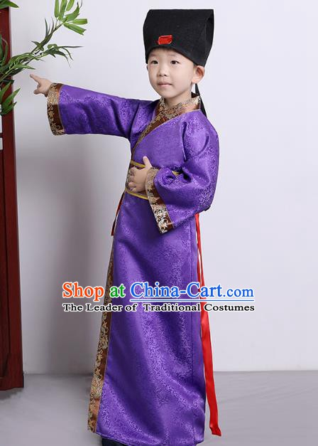 Traditional China Han Dynasty Minister Purple Costume, Chinese Ancient Chancellor Hanfu Clothing for Kids