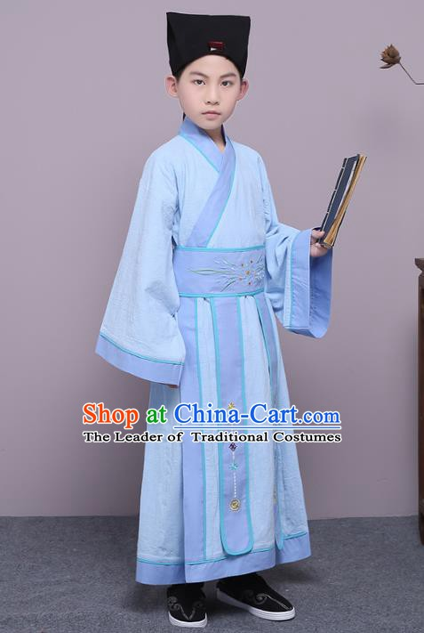 Traditional China Han Dynasty Minister Costume, Chinese Ancient Scholar Hanfu Blue Robe Clothing for Kids