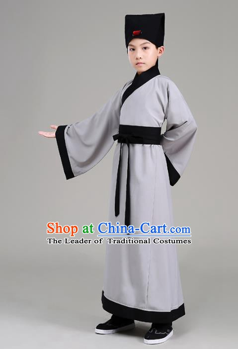 Traditional China Han Dynasty Minister Costume Grey Robe, Chinese Ancient Scholar Hanfu Clothing for Kids