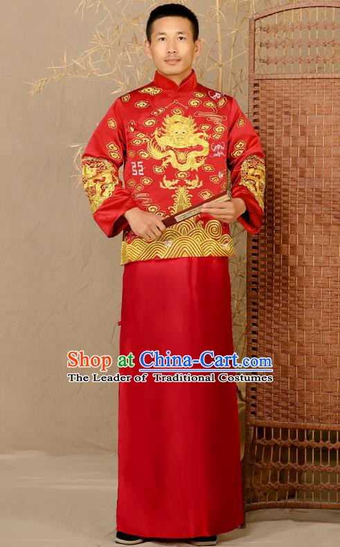 Ancient Chinese Wedding Costume Ancient Groom Toast Clothing Tang Suit for Men