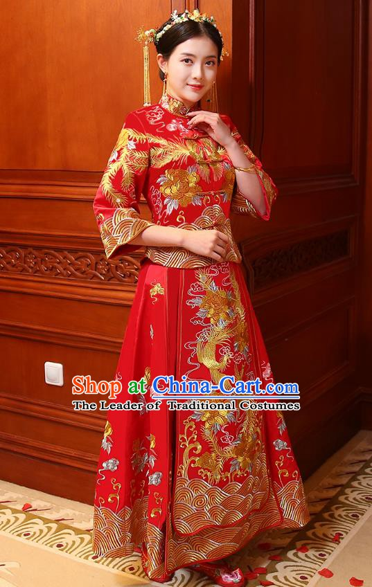 Traditional Chinese Wedding Costume Ancient Bride Embroidered Xiuhe Suits Red Dress for Women