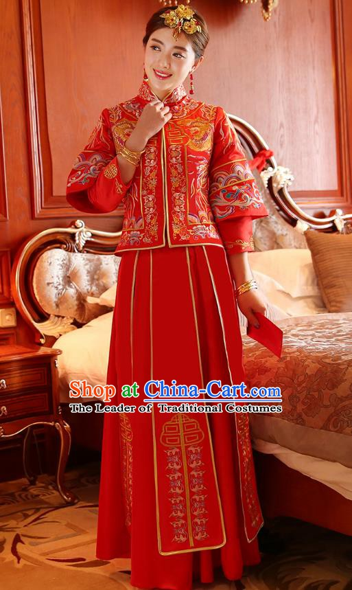 Traditional Chinese Wedding Costume Ancient Bride Embroidered Red Dress Xiuhe Suits for Women