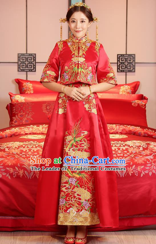 Traditional Chinese Wedding Costume Ancient Bride Embroidered Toast Cheongsam Xiuhe Suits for Women