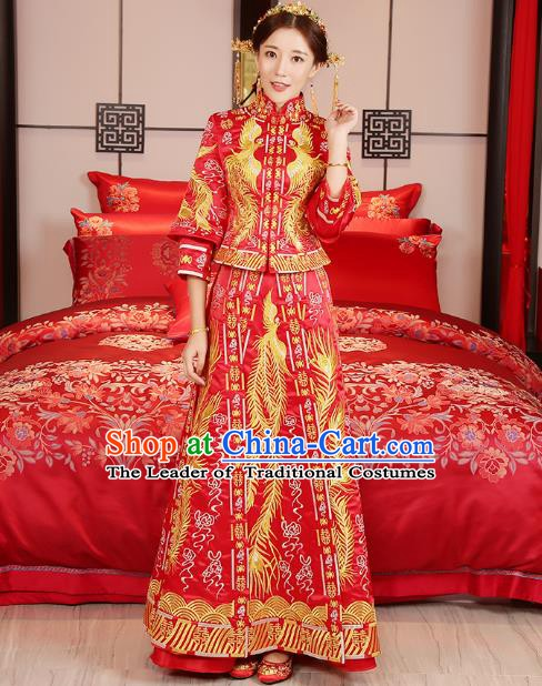 Traditional Chinese Wedding Costume Xiuhe Suit Ancient Bride Embroidered Phoenix Cheongsam for Women