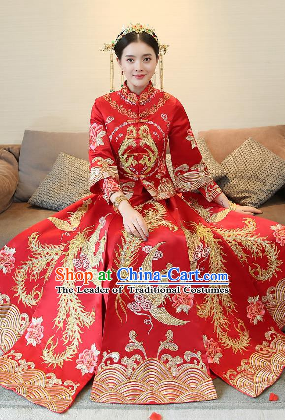 Traditional Chinese Wedding Costume Xiuhe Suit Ancient Bride Embroidered Clothing Phoenix Cheongsam for Women