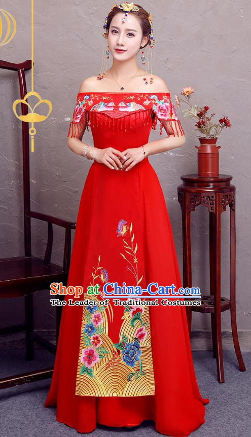 Top Grade Modern Dance Costume Bride Toast Cheongsam Embroidered Xiuhe Suit Dress for Women