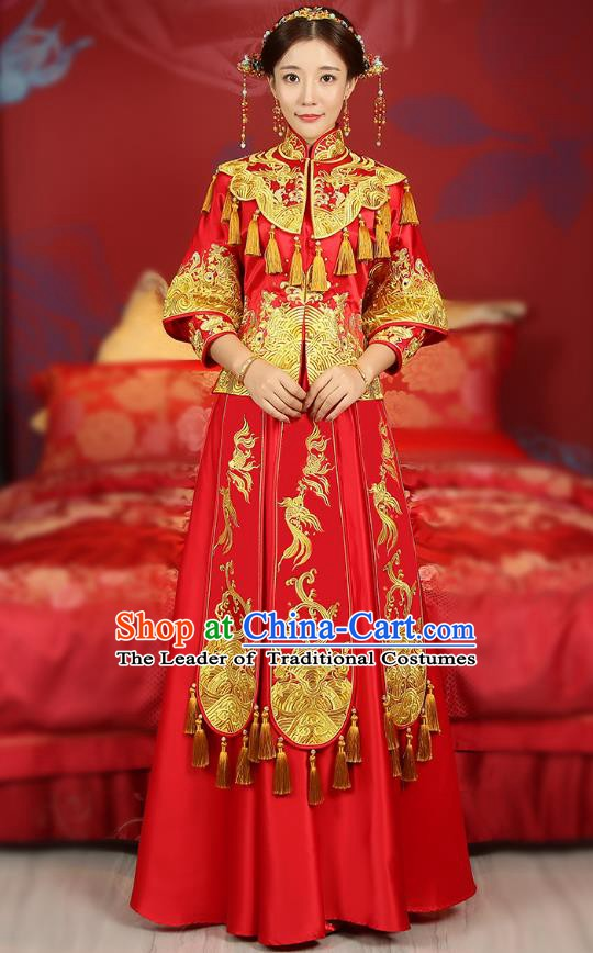 Traditional Chinese Wedding Costume Ancient Bride Embroidered Red Xiuhe Suits Dress for Women