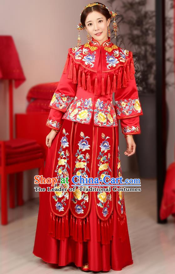 Traditional Chinese Wedding Costume Ancient Bride Embroidered Peony Red Xiuhe Suits Dress for Women