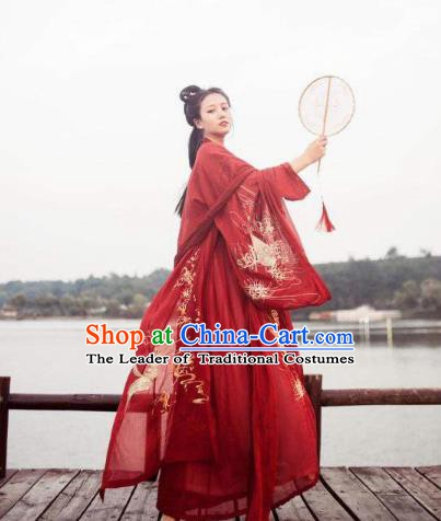 China Ancient Tang Dynasty Princess Wedding Costume Traditional Chinese Bride Red Dress Clothing for Women