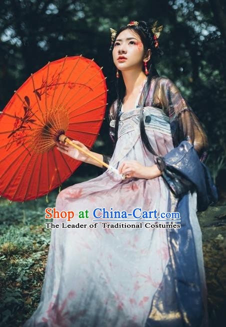 China Ancient Tang Dynasty Palace Lady Embroidered Costume, Traditional Chinese Princess Dress Clothing for Women
