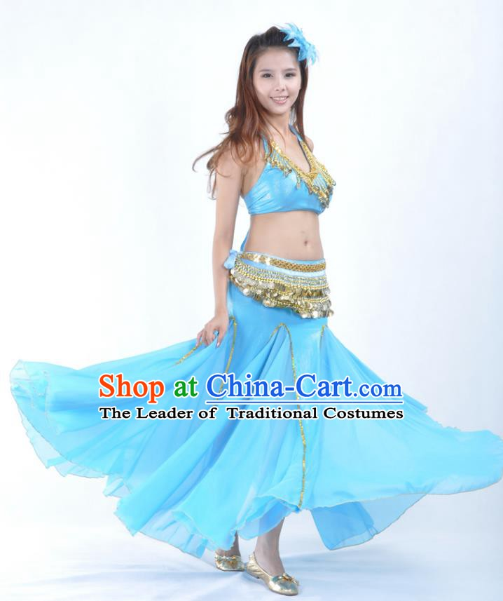 e37f3c081eda Traditional Indian Bollywood Belly Dance Blue Dress Asian India Oriental  Dance Costume for Women