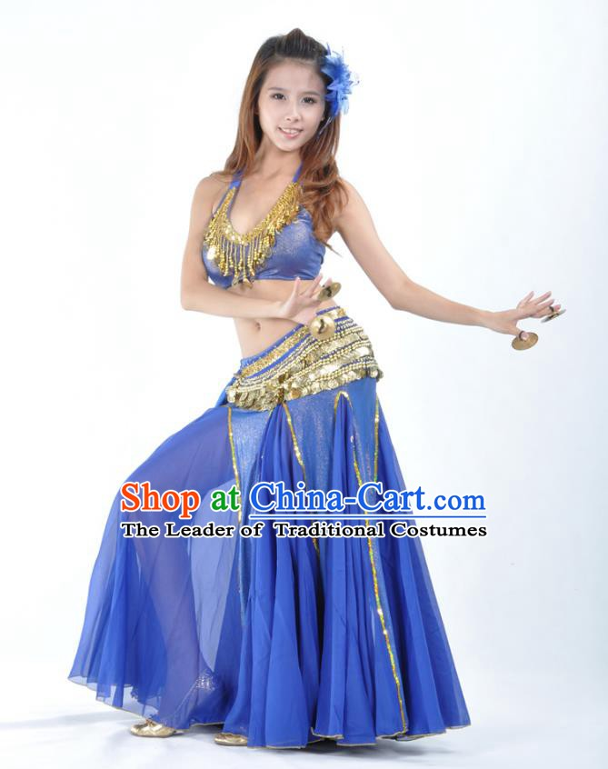 d1827e9376c0 Traditional Indian Bollywood Belly Dance Royalblue Dress Asian India  Oriental Dance Costume for Women