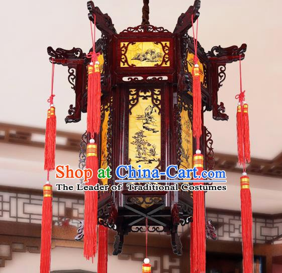 Chinese Classical Handmade Wood Palace Lanterns Traditional Hanging Lantern Ancient Painted Ceiling Lamp