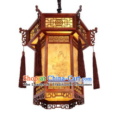 Traditional Chinese New Year Palace Lanterns Wood Hanging Lantern Ancient Ceiling Lamp