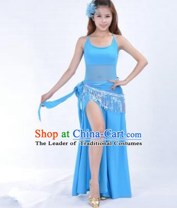 Traditional Indian National Belly Dance Blue Dress India Oriental Dance Costume for Women