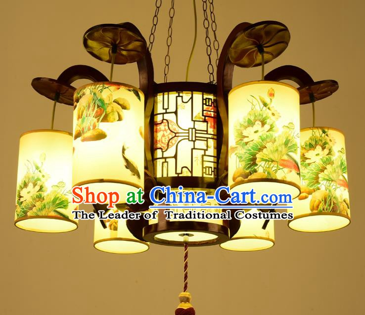 Traditional Chinese Six-Lights Hanging Palace Lanterns Handmade Painted Lantern Ancient Ceiling Lamp