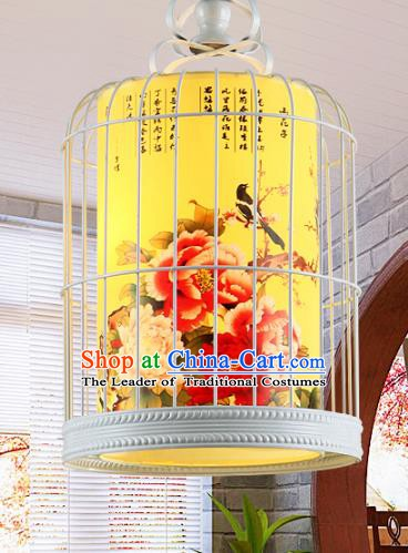 Traditional Chinese Painted Peony Birds Hanging Palace Lanterns Handmade Birdcage Lantern Ancient Ceiling Lamp