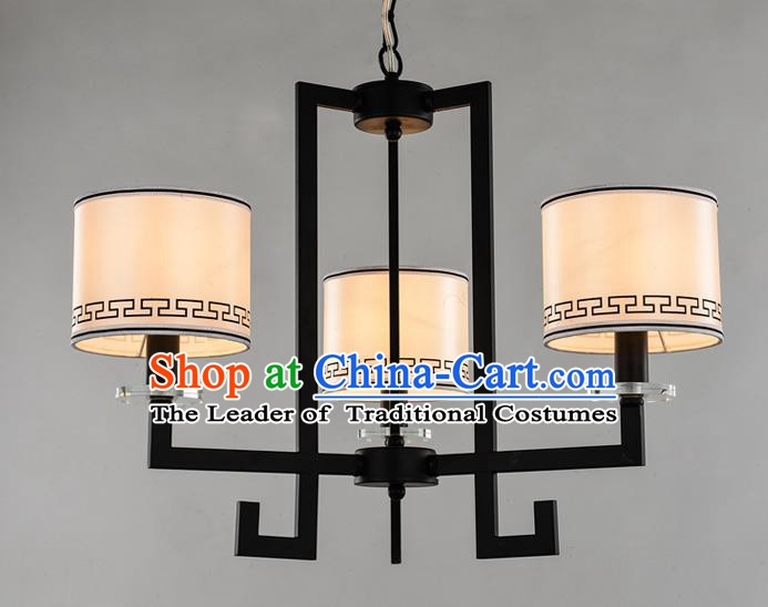 Traditional Chinese Ceiling Palace Lanterns Handmade Three-Lights Lantern Ancient Lamp
