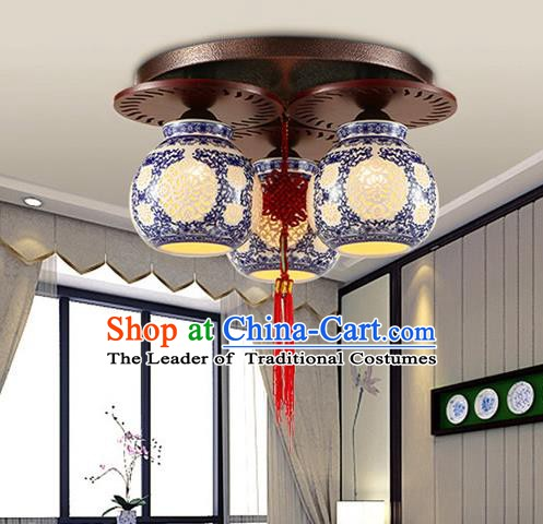 Traditional Chinese Ceiling Palace Lanterns Handmade Pierced Blue Porcelain Lantern Ancient Three-Lights Lamp