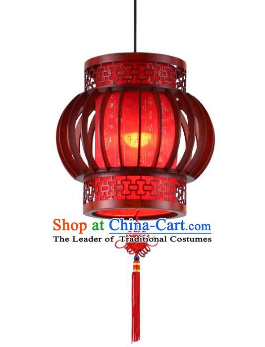 Traditional Chinese New Year Red Palace Hanging Lanterns Handmade Wood Lantern Ancient Ceiling Lamp