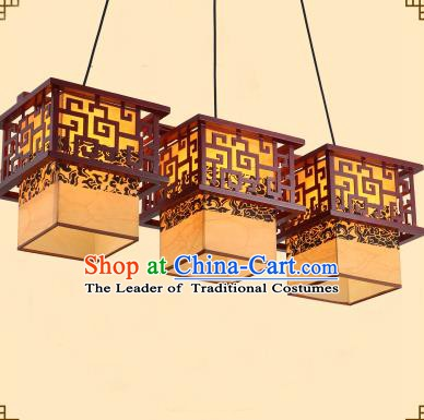 Traditional Chinese Three-Lights Palace Lanterns Handmade Wood Hanging Lantern Ancient Ceiling Lamp