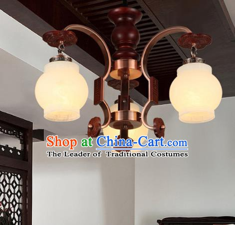 Traditional Chinese Palace Lanterns Handmade Three-Lights Lantern Ancient Ceiling Lamp
