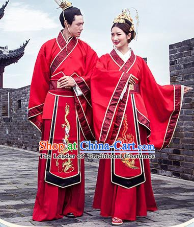 Chinese Ancient Han Dynasty Bride and Bridegroom Embroidered Costumes for Women for Men