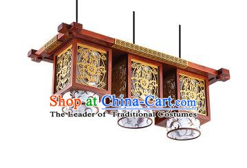 Traditional Chinese Wood Carving Hanging Ceiling Palace Lanterns Handmade Three-pieces Lantern Ancient Lamp