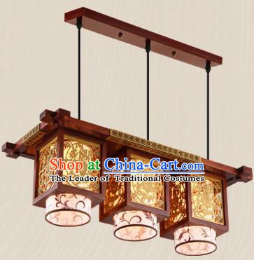 Traditional Chinese Wood Carving Ceiling Lanterns Handmade Three-Lights Hanging Lantern Ancient Lamp