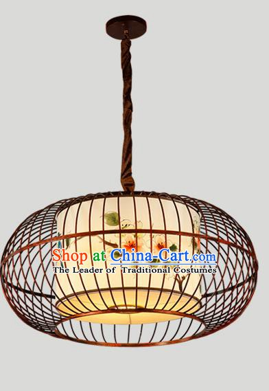 Traditional Chinese Iron Hanging Lanterns Ancient Handmade Lantern Ancient Painted Flowers Lamp
