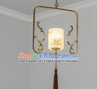 Traditional Chinese Iron Ceiling Lanterns Ancient Handmade Painting Flowers Hanging Lantern Ancient Lamp