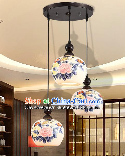 Traditional Chinese Handmade Ceramics Hanging Lantern Asian Painting Peony Ceiling Lanterns Ancient Lantern