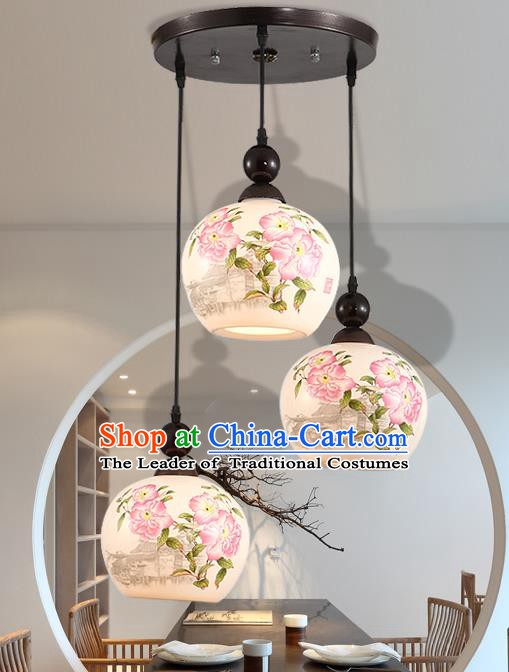 Traditional Chinese Handmade Ceramics Hanging Lantern Asian Painting Peach Blossom Ceiling Lanterns Ancient Lantern