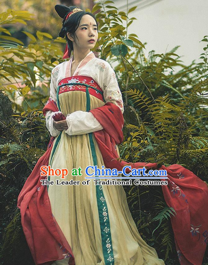 China Ancient Tang Dynasty Princess Costume Palace Lady Embroidered Dress for Women