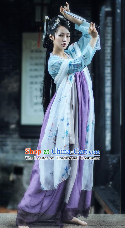 China Ancient Tang Dynasty Palace Princess Embroidered Costume for Women