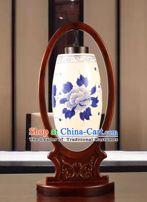 China Handmade Ceramics Desk Lantern Ancient Wood Painting Lanterns Traditional Lamp