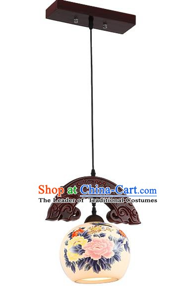 Traditional Chinese Handmade Hanging Lantern Wood Painting Peony Lantern Ancient Palace Ceiling Lanterns