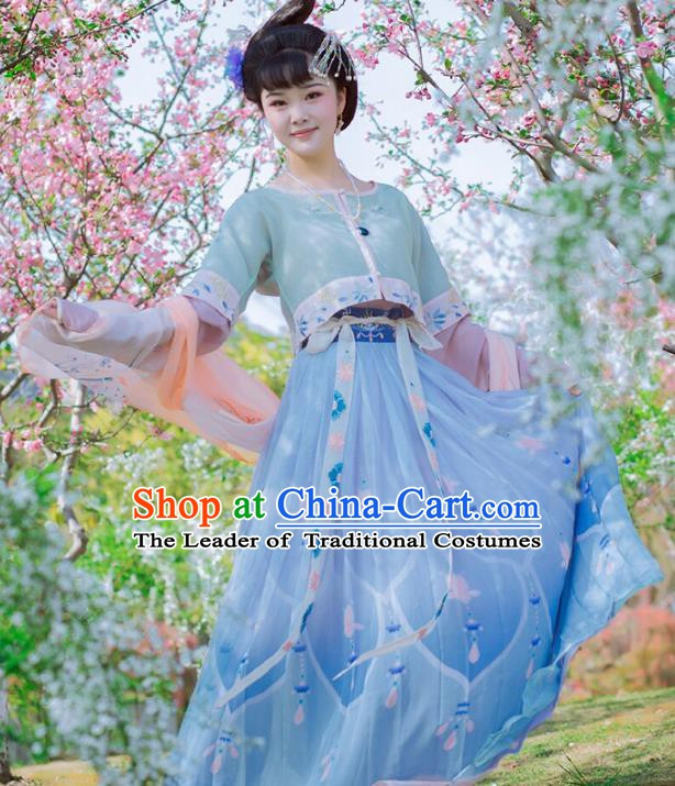 Traditional Chinese Ancient Fairy Dress Tang Dynasty Princess Hanfu Embroidered Clothing for Women