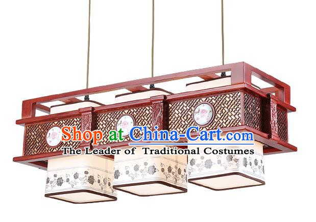 Traditional Chinese Hanging Palace Lantern Handmade Painting Peony Ceiling Lanterns Ancient Three-Lights Lamp