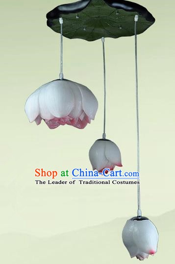 Top Grade Handmade Three-Lights Red Lotus Hanging Lanterns Traditional Chinese Ceiling Palace Lantern Ancient Lanterns