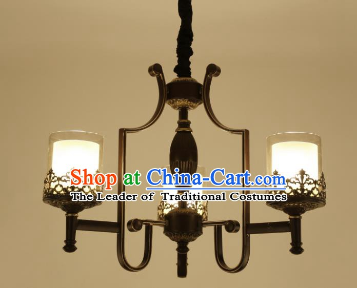 China Handmade Three-Lights Iron Ceiling Lanterns Traditional Chinese Palace Lantern Ancient Lanterns