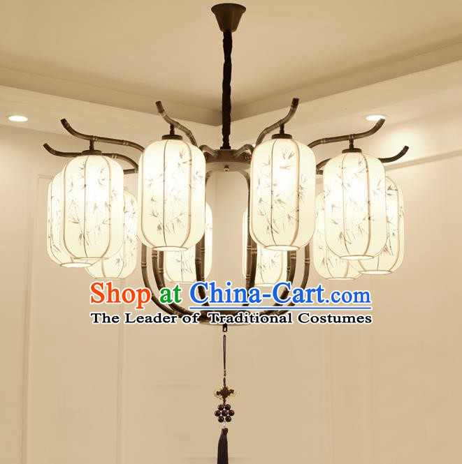 China Handmade Ten-Lights Ceiling Lanterns Traditional Chinese Painted Bamboo Palace Lantern Ancient Lanterns