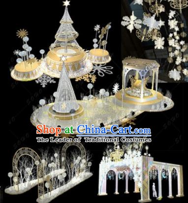 Traditional Christmas Tree Crystal Light Show Decorations Lamps Stage Display Lamplight LED Lanterns