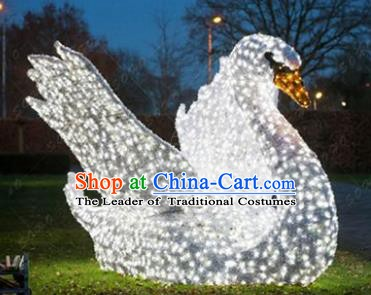 Traditional Christmas Light Show Swan Decorations Lamps Stage Display Lamplight LED Lanterns
