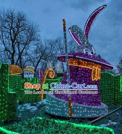 Traditional Christmas LED Light Show Rabbit Decorations Lamps Stage Display Lamplight Lanterns
