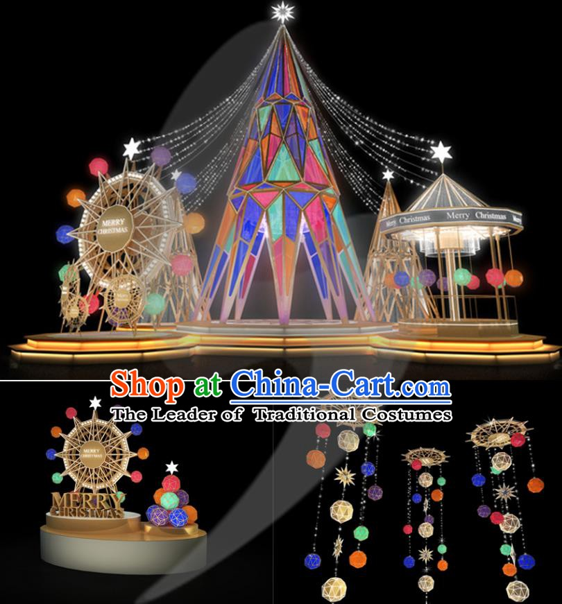 Traditional Handmade Christmas Lights Stage Decorations Shiny Christmas Tree Lamplight LED Lanterns