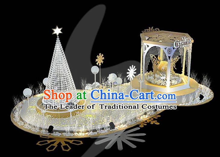 Traditional Handmade Christmas Lights Scene Stage Decorations Shiny Christmas Tree Lamplight LED Lanterns