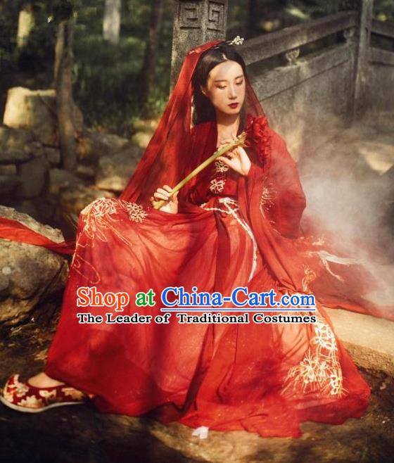 Chinese Song Dynasty Princess Wedding Dress Ancient Bride Embroidered Costume Complete Set