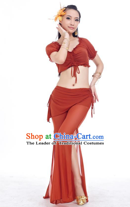 Indian Traditional Belly Dance Rufous Costume India Oriental Dance Clothing for Women
